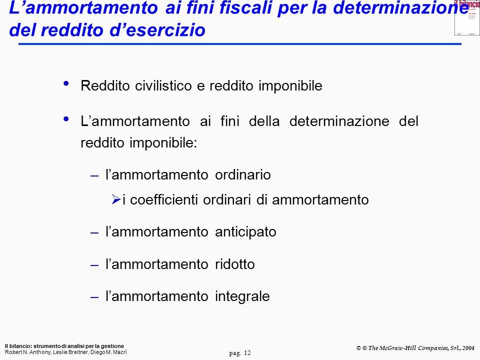 pag. 12 Il bilancio: strumento di analisi per la gestione Robert N. Anthony, Leslie Breitner, Diego M. Macrì © © The McGraw-Hill Companies, Srl., 2004