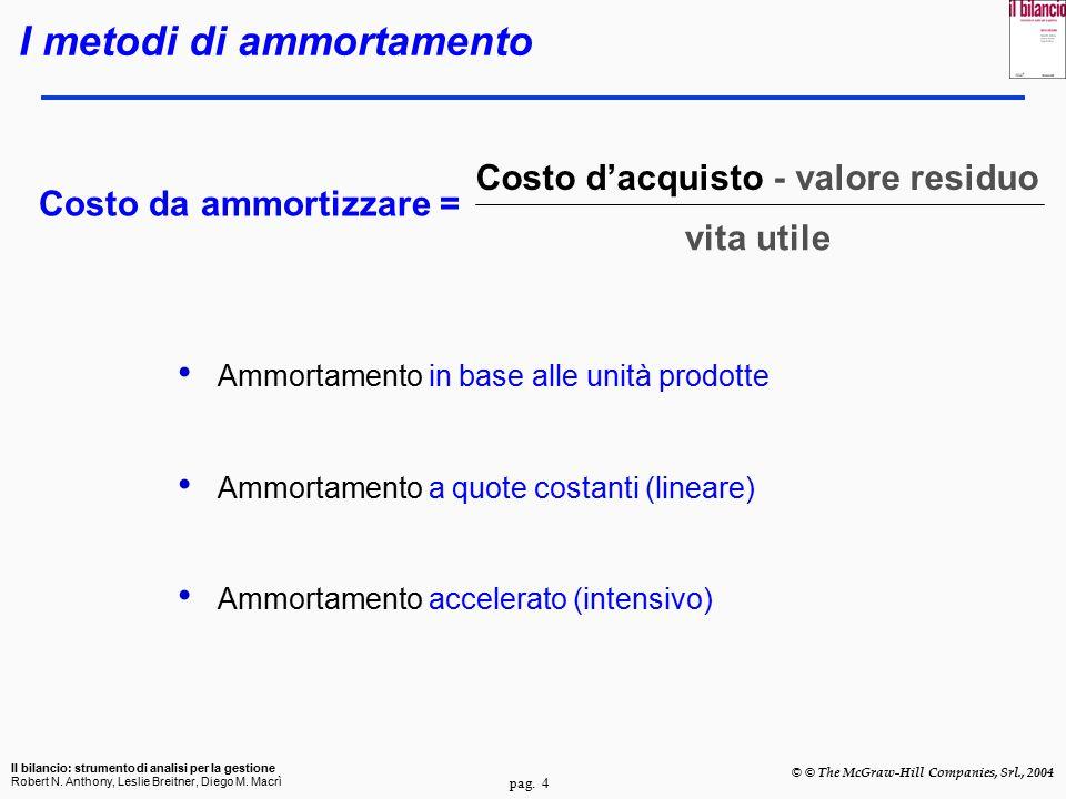 pag. 4 Il bilancio: strumento di analisi per la gestione Robert N. Anthony, Leslie Breitner, Diego M. Macrì © © The McGraw-Hill Companies, Srl., 2004