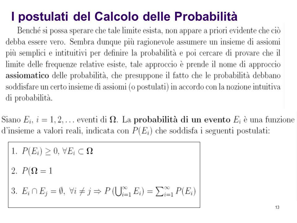 13 I postulati del Calcolo delle Probabilità
