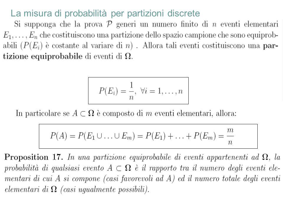 23 La misura di probabilità per partizioni discrete