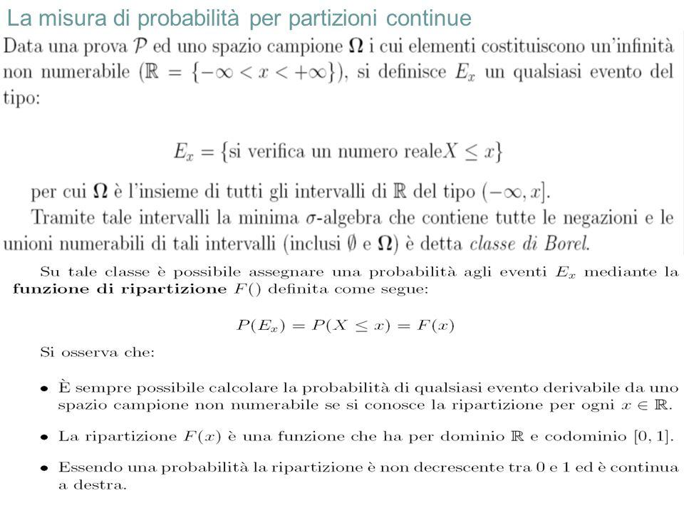 24 La misura di probabilità per partizioni continue