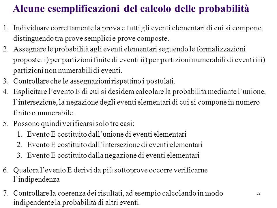 32 1.Individuare correttamente la prova e tutti gli eventi elementari di cui si compone, distinguendo tra prove semplici e prove composte.
