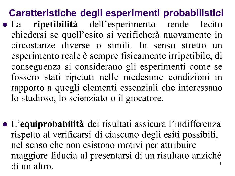 4 La ripetibilità dell'esperimento rende lecito chiedersi se quell'esito si verificherà nuovamente in circostanze diverse o simili.