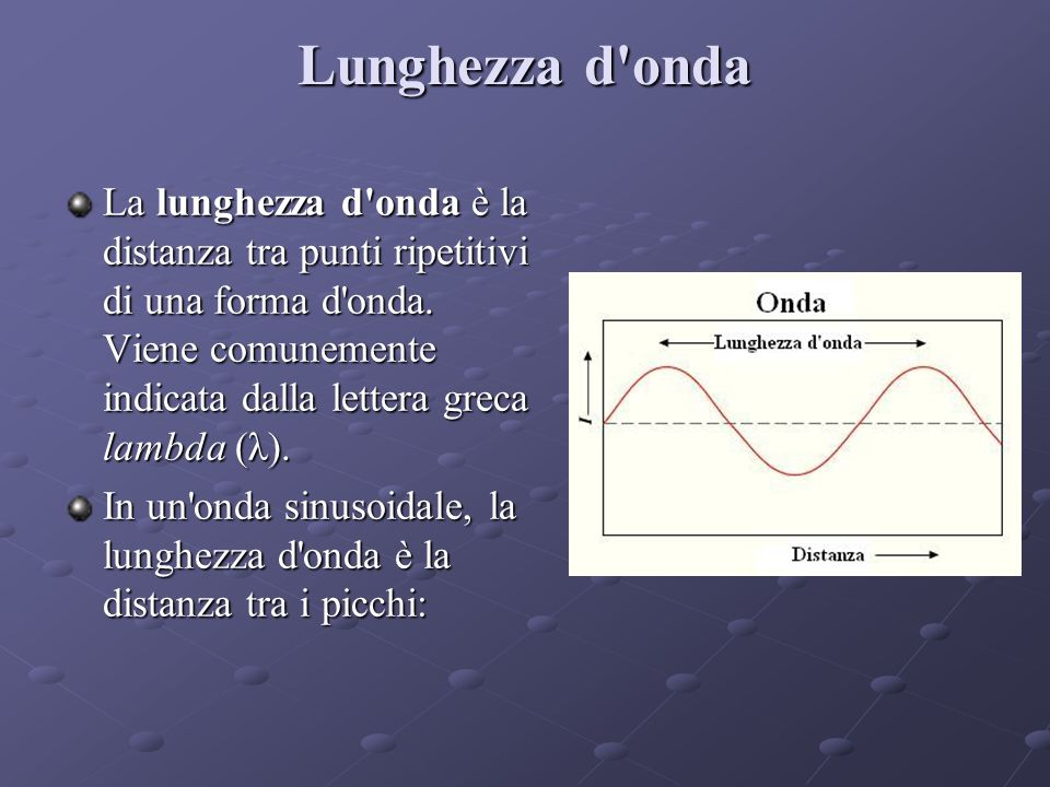 Lunghezza d onda La lunghezza d onda è la distanza tra punti ripetitivi di una forma d onda.