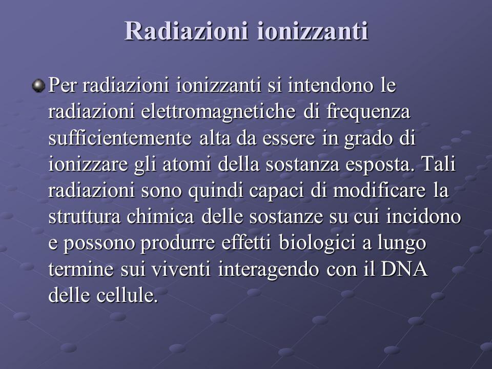 Radiazioni ionizzanti Per radiazioni ionizzanti si intendono le radiazioni elettromagnetiche di frequenza sufficientemente alta da essere in grado di ionizzare gli atomi della sostanza esposta.