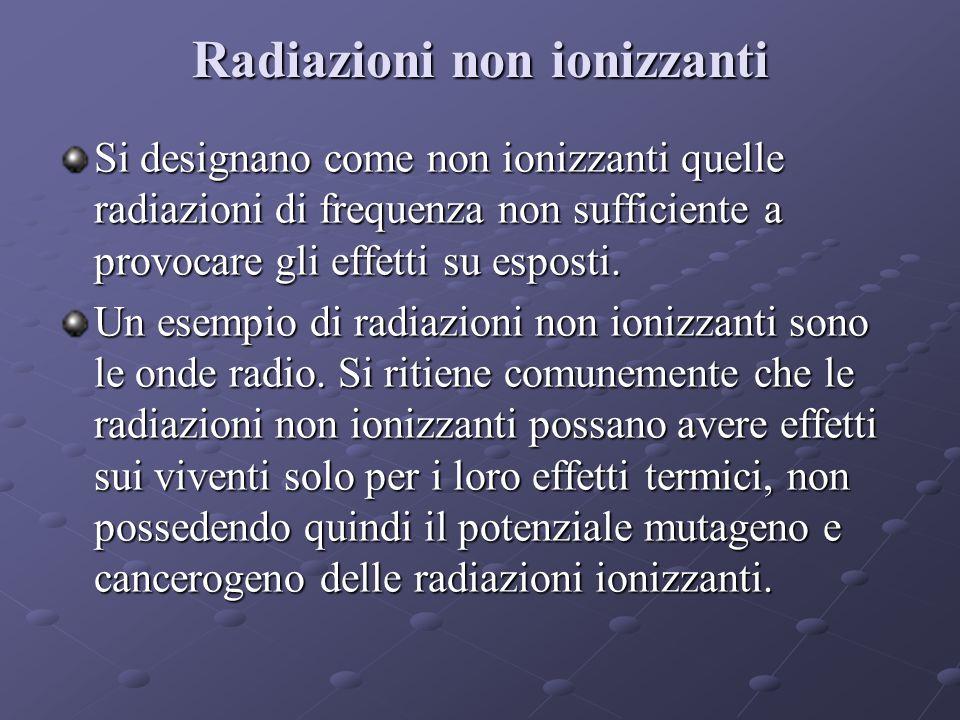Radiazioni non ionizzanti Si designano come non ionizzanti quelle radiazioni di frequenza non sufficiente a provocare gli effetti su esposti.