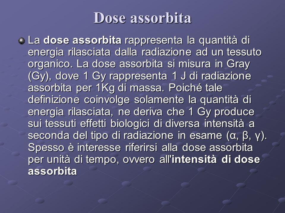 Dose assorbita La dose assorbita rappresenta la quantità di energia rilasciata dalla radiazione ad un tessuto organico.