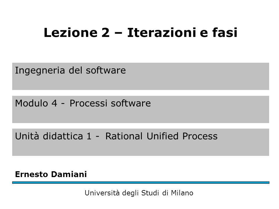 Ingegneria del software Modulo 4 -Processi software Unità didattica 1 -Rational Unified Process Ernesto Damiani Università degli Studi di Milano Lezione 2 – Iterazioni e fasi