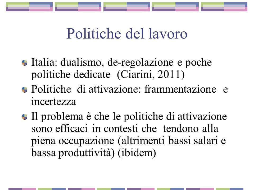 Politiche del lavoro Italia: dualismo, de-regolazione e poche politiche dedicate (Ciarini, 2011) Politiche di attivazione: frammentazione e incertezza Il problema è che le politiche di attivazione sono efficaci in contesti che tendono alla piena occupazione (altrimenti bassi salari e bassa produttività) (ibidem)