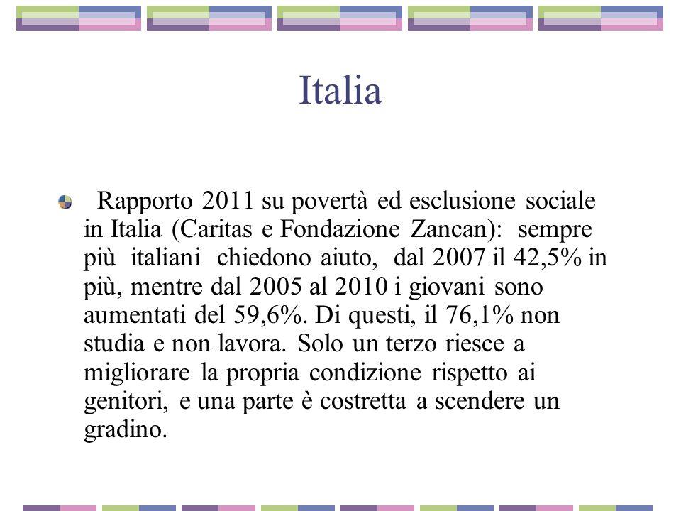Italia Rapporto 2011 su povertà ed esclusione sociale in Italia (Caritas e Fondazione Zancan): sempre più italiani chiedono aiuto, dal 2007 il 42,5% in più, mentre dal 2005 al 2010 i giovani sono aumentati del 59,6%.