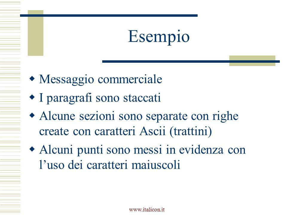 www.italicon.it Esempio  Messaggio commerciale  I paragrafi sono staccati  Alcune sezioni sono separate con righe create con caratteri Ascii (trattini)  Alcuni punti sono messi in evidenza con l'uso dei caratteri maiuscoli