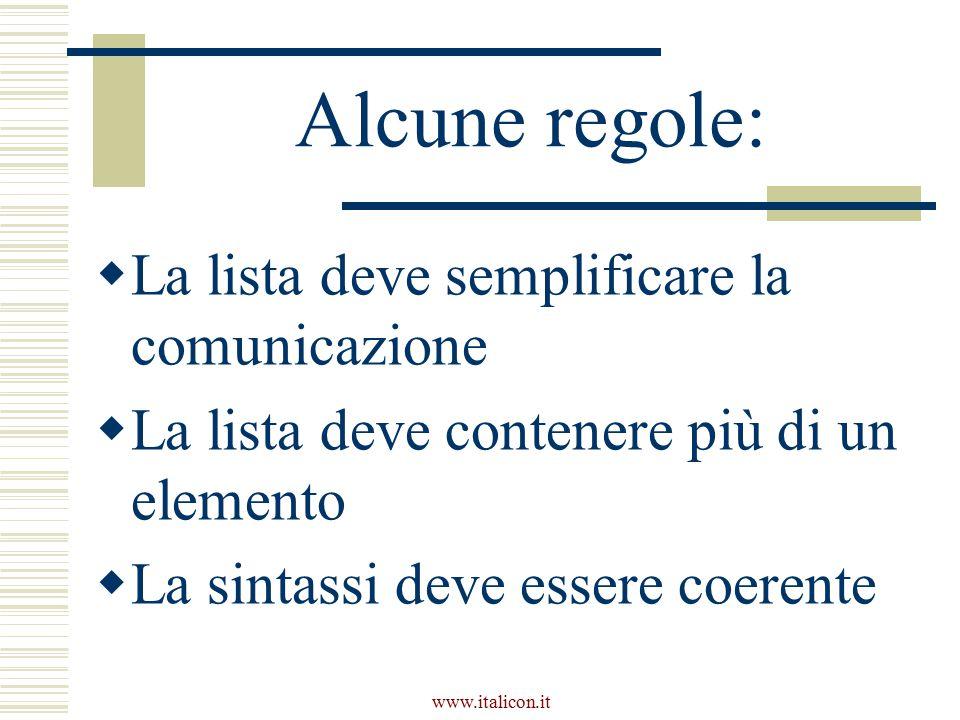 www.italicon.it Alcune regole:  La lista deve semplificare la comunicazione  La lista deve contenere più di un elemento  La sintassi deve essere coerente