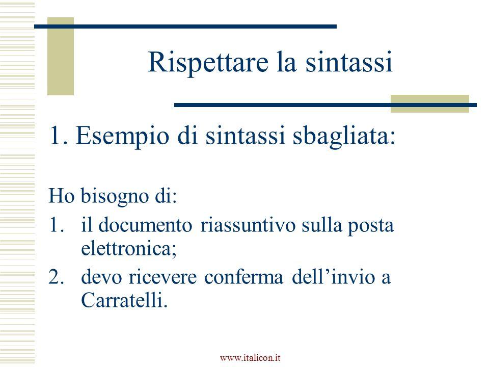 www.italicon.it Rispettare la sintassi 1.