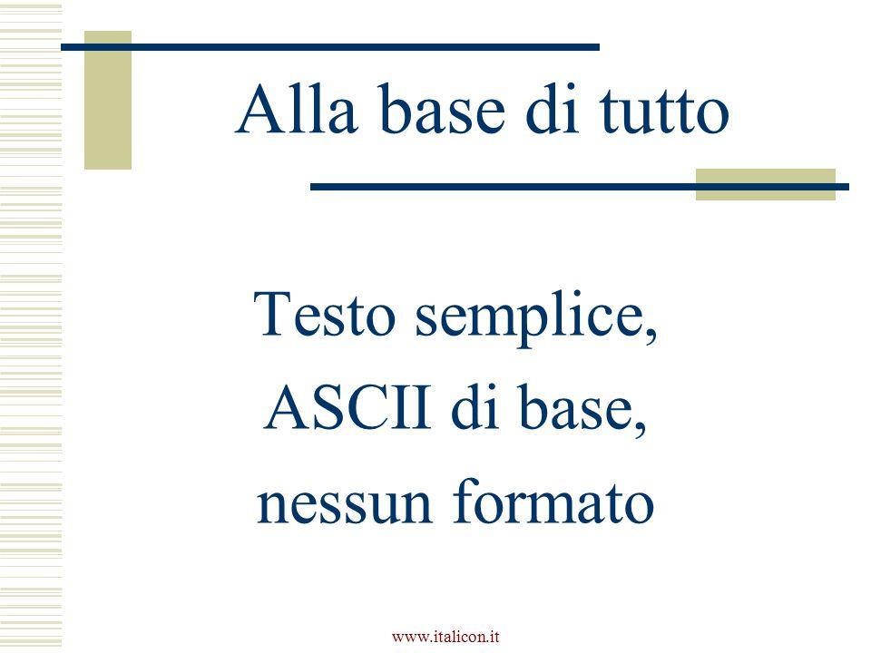 www.italicon.it Ascii di base  Ascii ristretto, o a 7 bit  Standard Iso 646  Comprende 95 caratteri stampabili e 33 caratteri di controllo  Come Irv (International Reference Version) è tuttora l'unico assieme di caratteri universalmente condiviso