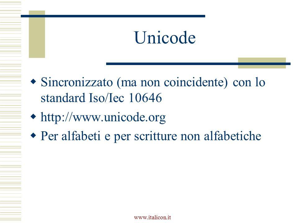 Unicode  Sincronizzato (ma non coincidente) con lo standard Iso/Iec 10646  http://www.unicode.org  Per alfabeti e per scritture non alfabetiche
