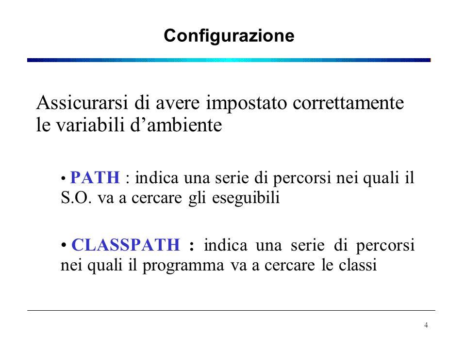 Configurazione Assicurarsi di avere impostato correttamente le variabili d'ambiente PATH : indica una serie di percorsi nei quali il S.O.