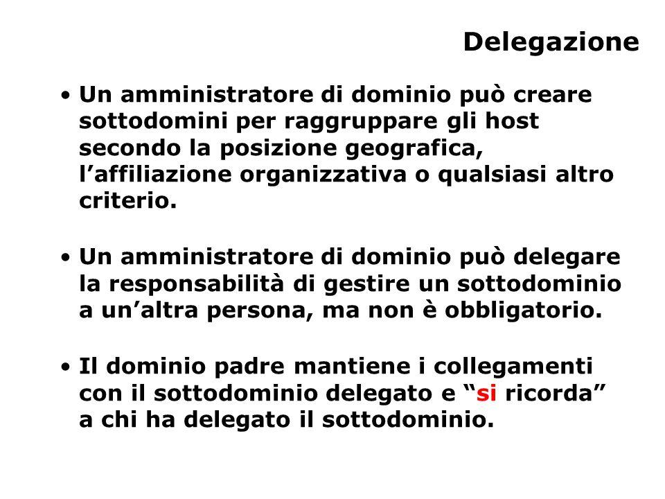 Delegazione Un amministratore di dominio può creare sottodomini per raggruppare gli host secondo la posizione geografica, l'affiliazione organizzativa o qualsiasi altro criterio.