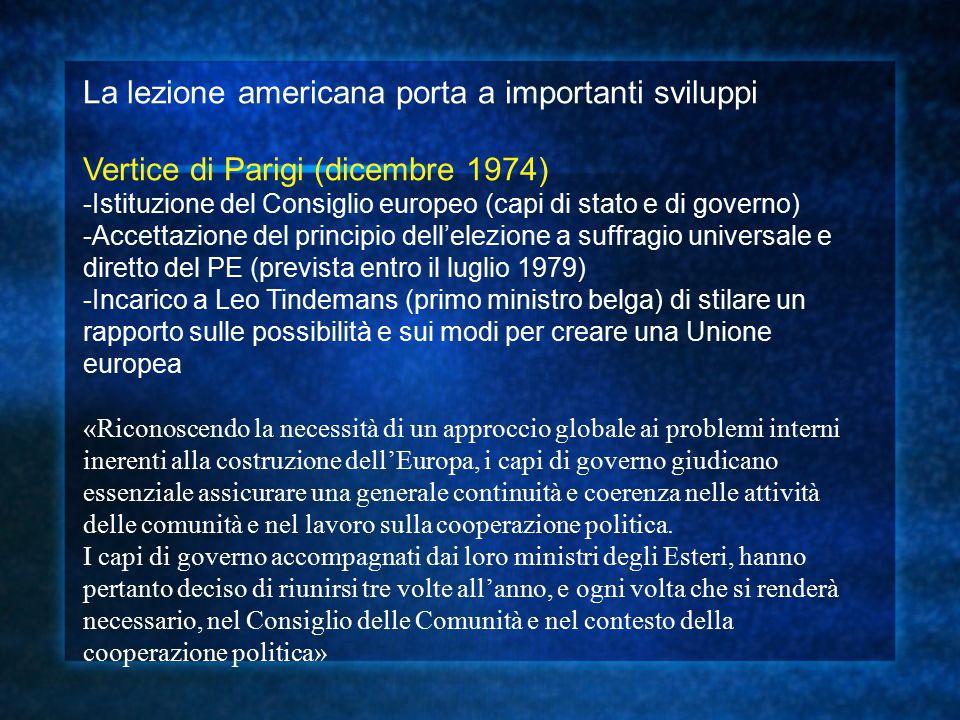 La lezione americana porta a importanti sviluppi Vertice di Parigi (dicembre 1974) -Istituzione del Consiglio europeo (capi di stato e di governo) -Ac