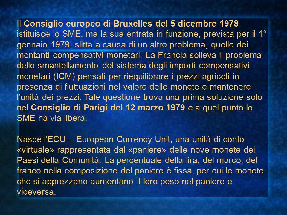 Il Consiglio europeo di Bruxelles del 5 dicembre 1978 istituisce lo SME, ma la sua entrata in funzione, prevista per il 1° gennaio 1979, slitta a caus