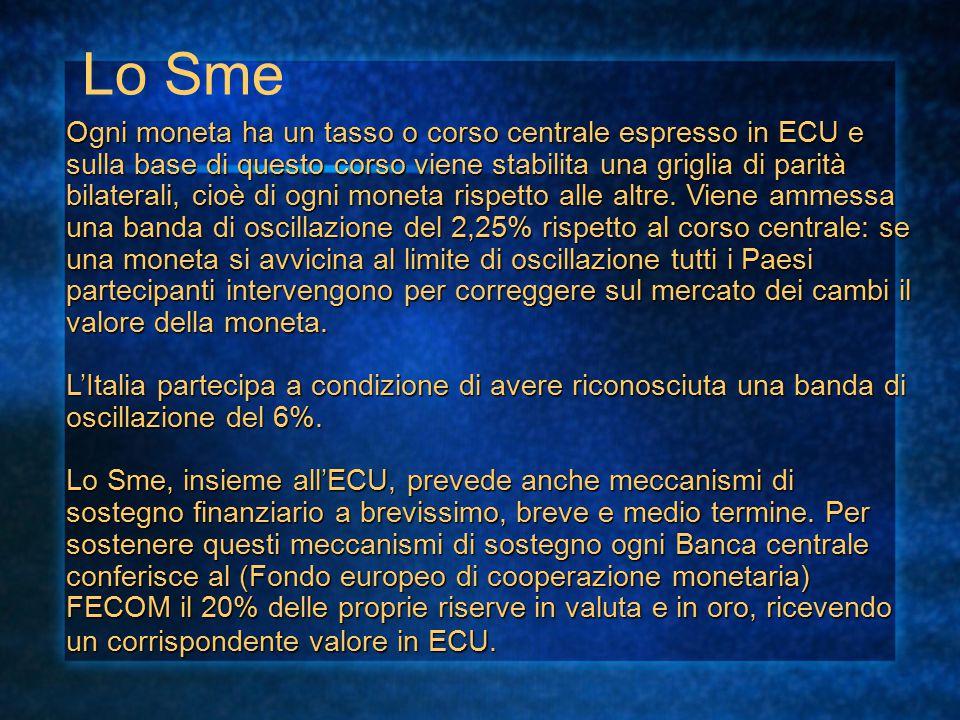 Lo Sme Ogni moneta ha un tasso o corso centrale espresso in ECU e sulla base di questo corso viene stabilita una griglia di parità bilaterali, cioè di