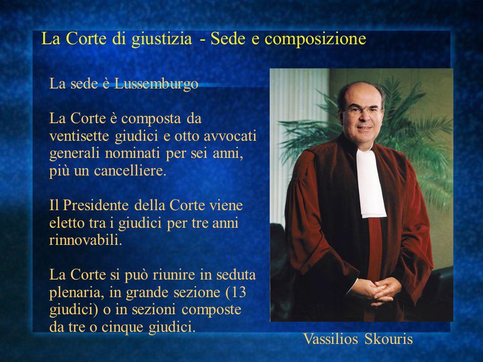 La Corte di giustizia - Sede e composizione La sede è Lussemburgo La Corte è composta da ventisette giudici e otto avvocati generali nominati per sei