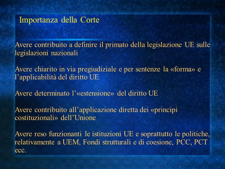 Importanza della Corte Avere contribuito a definire il primato della legislazione UE sulle legislazioni nazionali Avere chiarito in via pregiudiziale