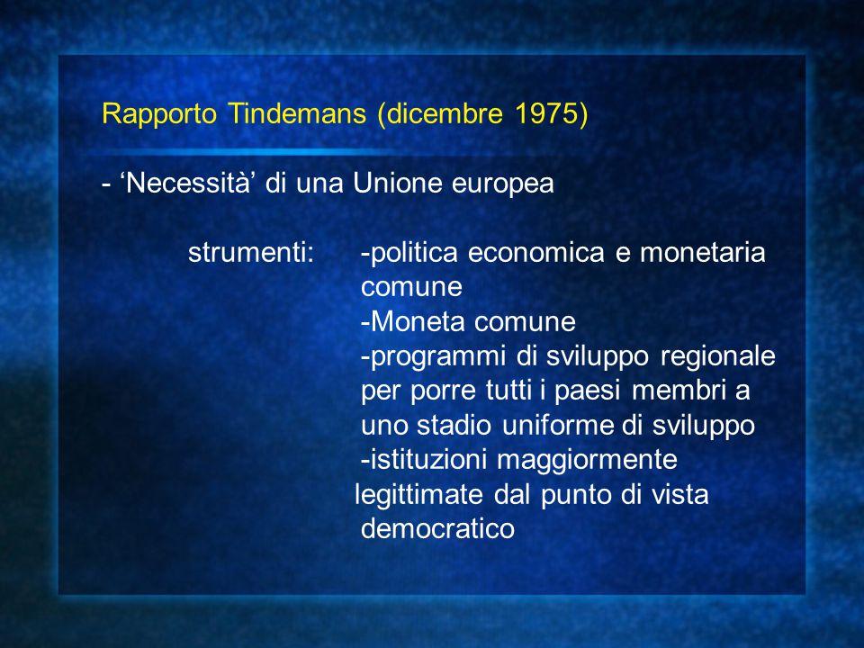 Rapporto Tindemans (dicembre 1975) - 'Necessità' di una Unione europea strumenti: -politica economica e monetaria comune -Moneta comune -programmi di