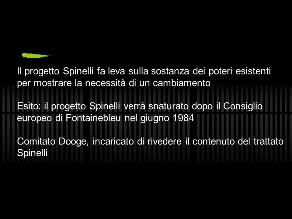 Il progetto Spinelli fa leva sulla sostanza dei poteri esistenti per mostrare la necessità di un cambiamento Esito: il progetto Spinelli verrà snatura