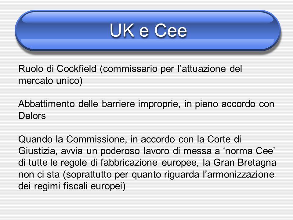 UK e Cee Ruolo di Cockfield (commissario per l'attuazione del mercato unico) Abbattimento delle barriere improprie, in pieno accordo con Delors Quando