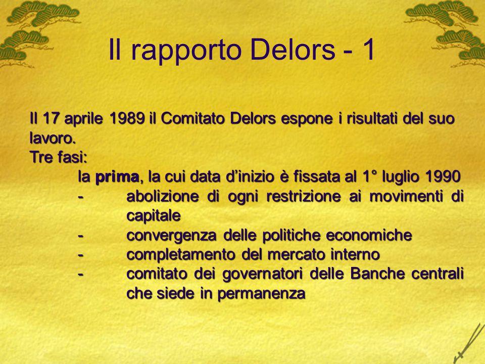 Il rapporto Delors - 1 Il 17 aprile 1989 il Comitato Delors espone i risultati del suo lavoro. Tre fasi: la prima, la cui data d'inizio è fissata al 1