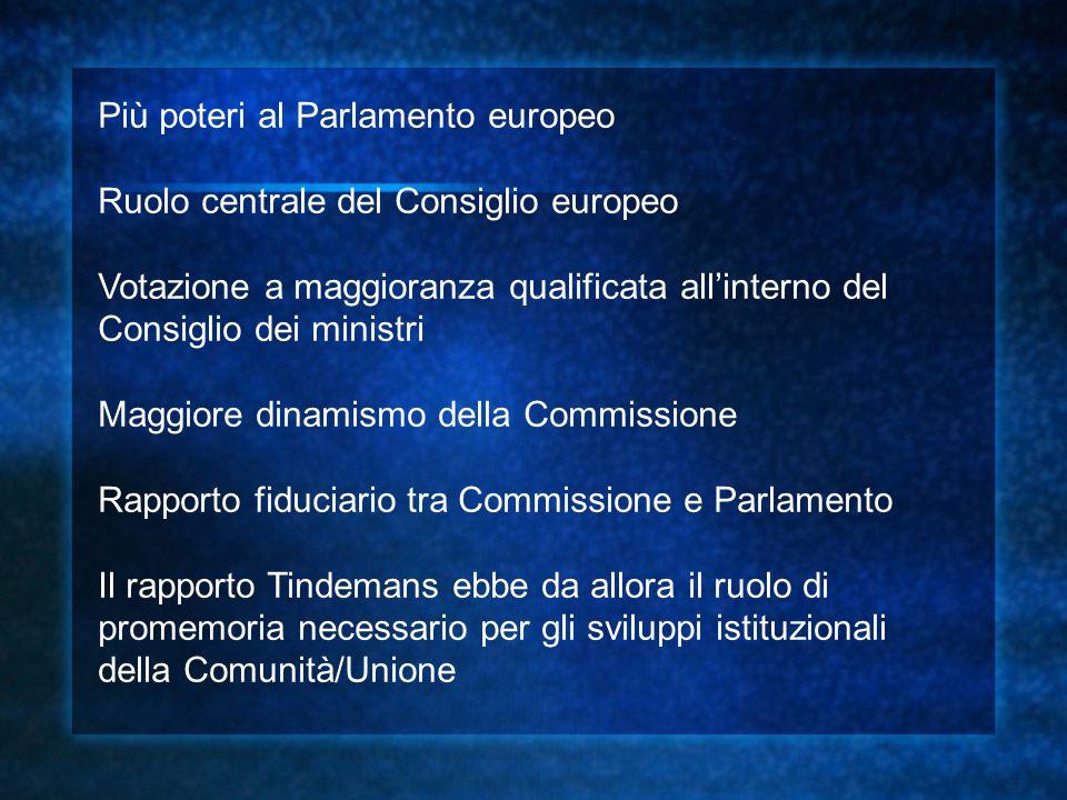 Più poteri al Parlamento europeo Ruolo centrale del Consiglio europeo Votazione a maggioranza qualificata all'interno del Consiglio dei ministri Maggi