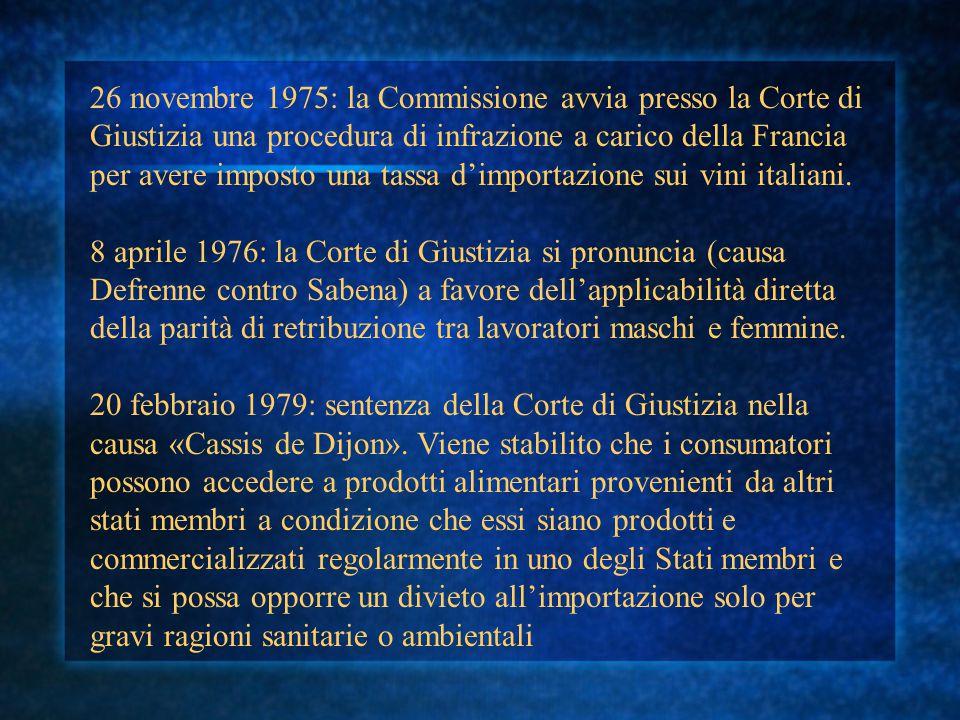 26 novembre 1975: la Commissione avvia presso la Corte di Giustizia una procedura di infrazione a carico della Francia per avere imposto una tassa d'i
