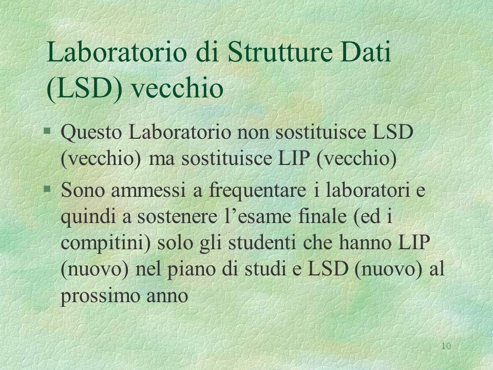 10 Laboratorio di Strutture Dati (LSD) vecchio §Questo Laboratorio non sostituisce LSD (vecchio) ma sostituisce LIP (vecchio) §Sono ammessi a frequentare i laboratori e quindi a sostenere l'esame finale (ed i compitini) solo gli studenti che hanno LIP (nuovo) nel piano di studi e LSD (nuovo) al prossimo anno