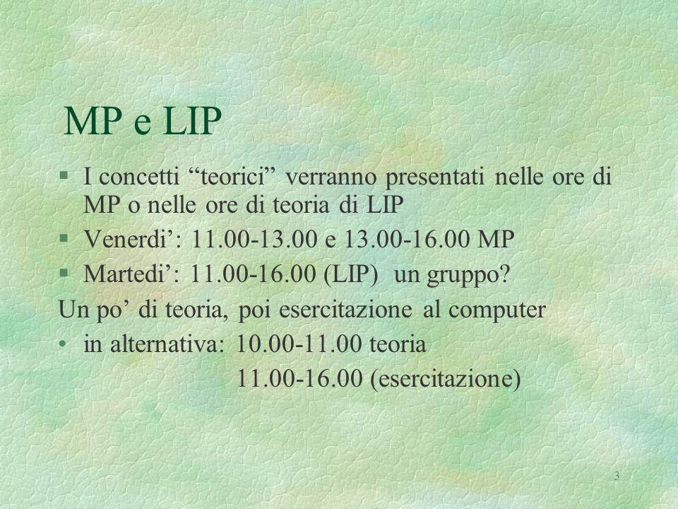 3 MP e LIP §I concetti teorici verranno presentati nelle ore di MP o nelle ore di teoria di LIP §Venerdi': 11.00-13.00 e 13.00-16.00 MP §Martedi': 11.00-16.00 (LIP) un gruppo.