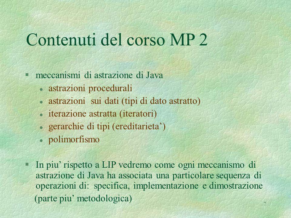 7 Contenuti del corso MP 2 §meccanismi di astrazione di Java l astrazioni procedurali l astrazioni sui dati (tipi di dato astratto) l iterazione astratta (iteratori) l gerarchie di tipi (ereditarieta') l polimorfismo §In piu' rispetto a LIP vedremo come ogni meccanismo di astrazione di Java ha associata una particolare sequenza di operazioni di: specifica, implementazione e dimostrazione (parte piu' metodologica)