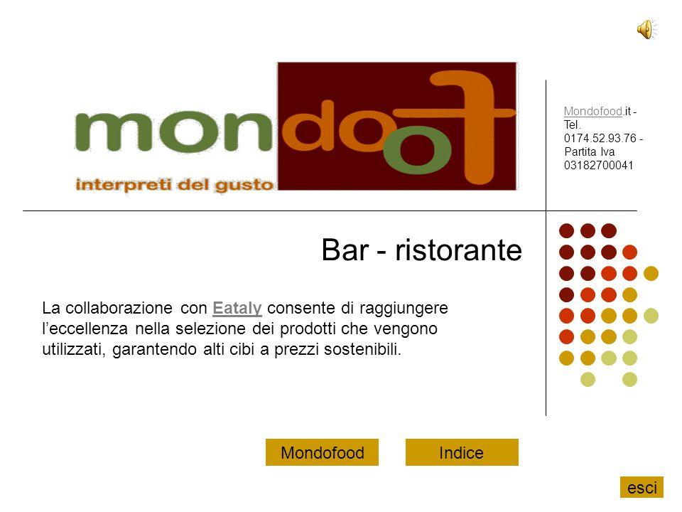 Bar - ristorante La collaborazione con Eataly consente di raggiungere l'eccellenza nella selezione dei prodotti che vengono utilizzati, garantendo alt