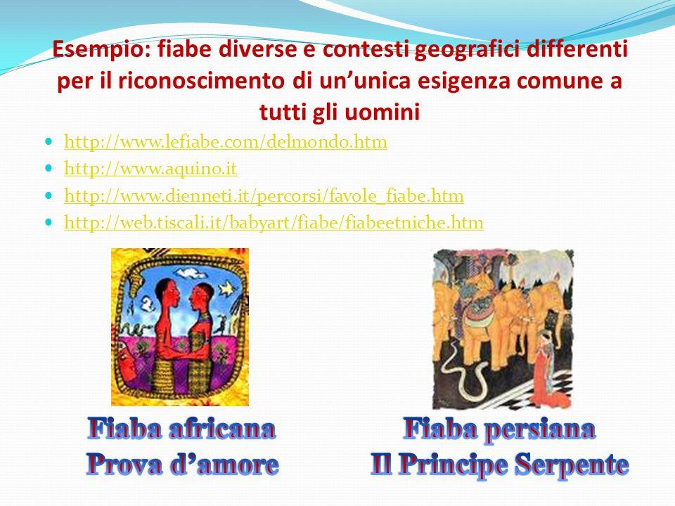 Esempio: fiabe diverse e contesti geografici differenti per il riconoscimento di un'unica esigenza comune a tutti gli uomini http://www.lefiabe.com/de