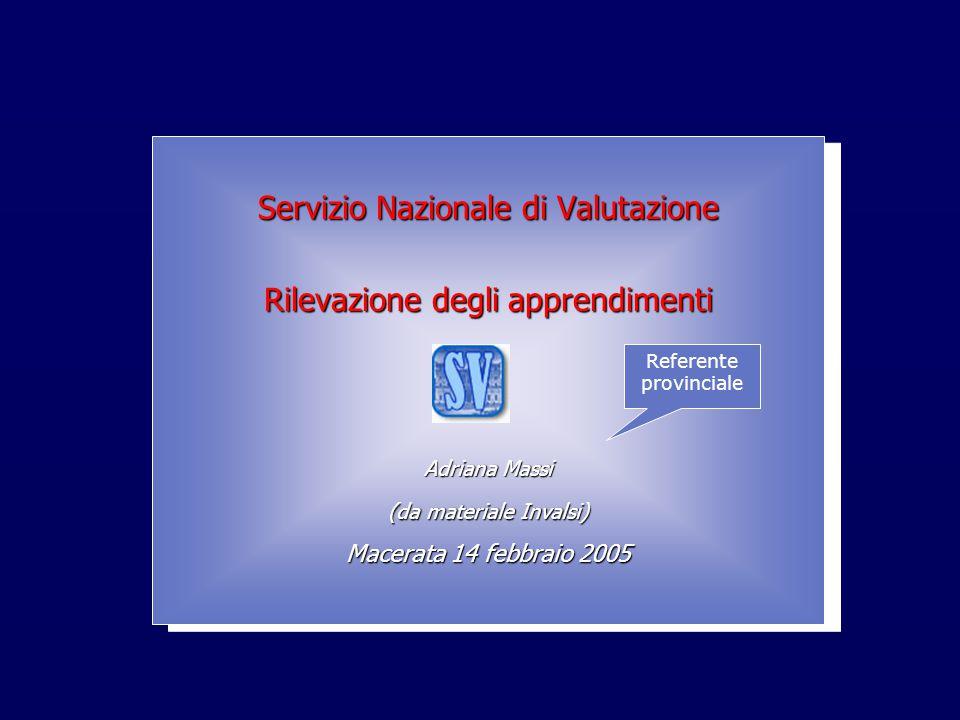 INValSI Servizio Nazionale di Valutazione Rilevazione degli apprendimenti Adriana Massi (da materiale Invalsi) Macerata 14 febbraio 2005 Servizio Nazi