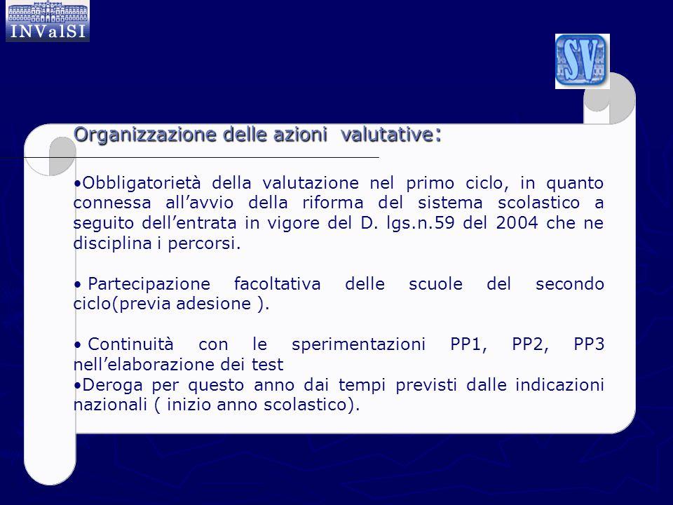 Organizzazione delle azioni valutative : Obbligatorietà della valutazione nel primo ciclo, in quanto connessa all'avvio della riforma del sistema scol