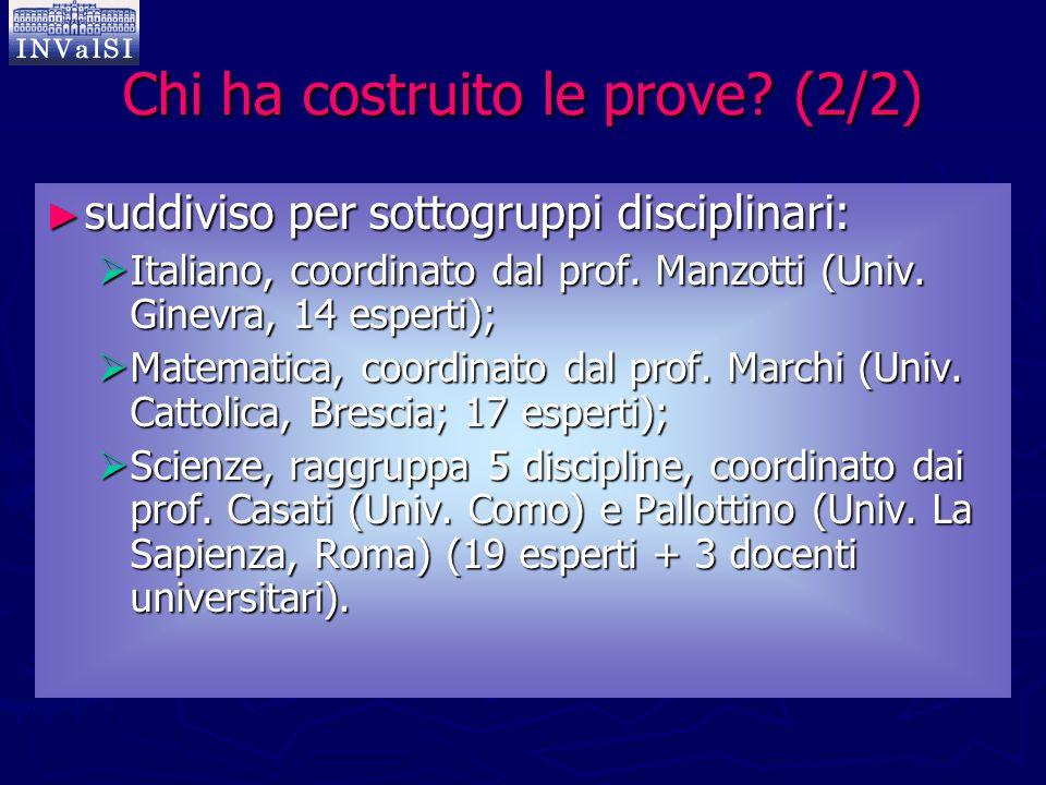 Chi ha costruito le prove? (2/2) ► suddiviso per sottogruppi disciplinari:  Italiano, coordinato dal prof. Manzotti (Univ. Ginevra, 14 esperti);  Ma