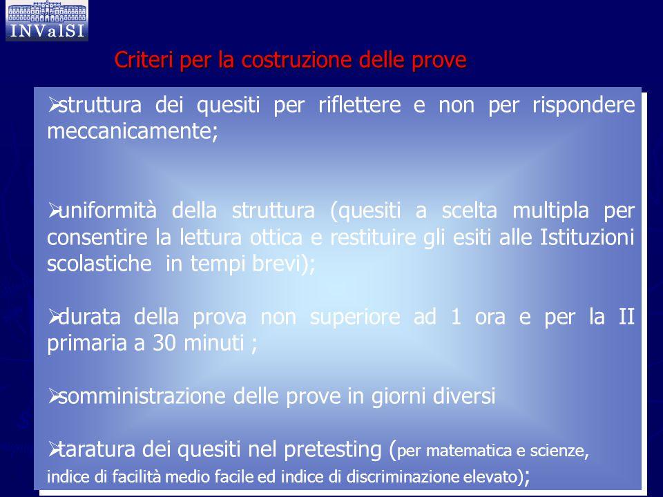  struttura dei quesiti per riflettere e non per rispondere meccanicamente;  uniformità della struttura (quesiti a scelta multipla per consentire la