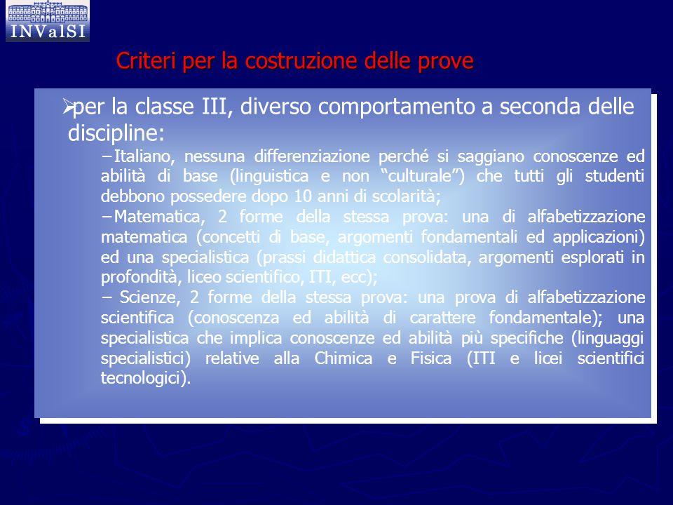  per la classe III, diverso comportamento a seconda delle discipline: −Italiano, nessuna differenziazione perché si saggiano conoscenze ed abilità di