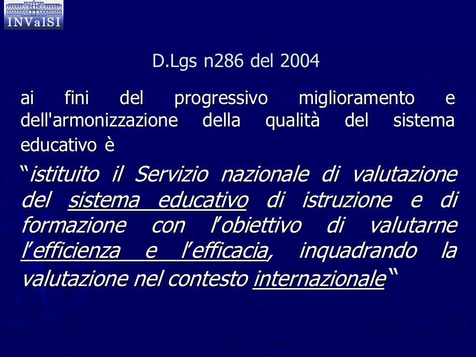"""D.Lgs n286 del 2004 ai fini del progressivo miglioramento e dell'armonizzazione della qualità del sistema educativo è """"istituito il Servizio nazionale"""