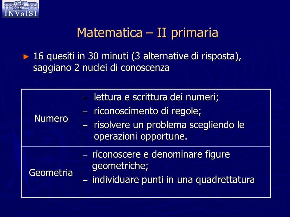 Matematica – II primaria ► 16 quesiti in 30 minuti (3 alternative di risposta), saggiano 2 nuclei di conoscenza Numero – lettura e scrittura dei numer