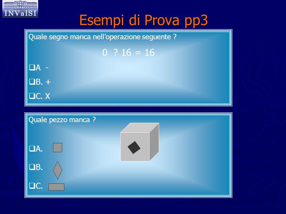 Esempi di Prova pp3 Quale segno manca nell'operazione seguente ? 0 ? 16 = 16  A -  B. +  C. X Quale pezzo manca ?  A.  B.  C.