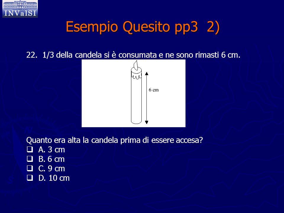 Esempio Quesito pp3 2) 22. 1/3 della candela si è consumata e ne sono rimasti 6 cm. Quanto era alta la candela prima di essere accesa?  A. 3 cm  B.