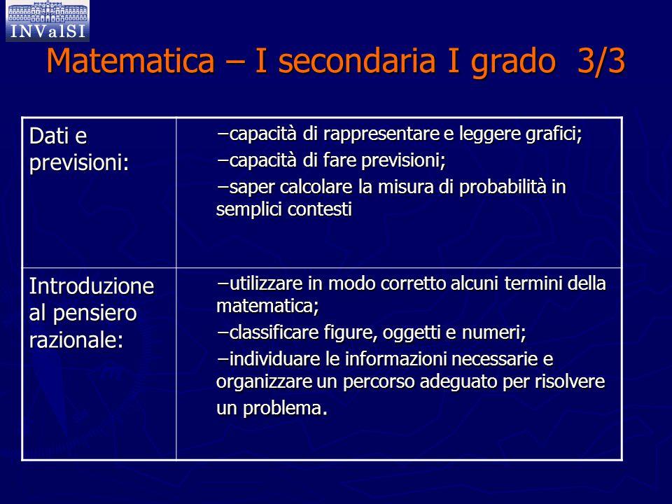 Matematica – I secondaria I grado 3/3 Dati e previsioni: −capacità di rappresentare e leggere grafici; −capacità di fare previsioni; −saper calcolare