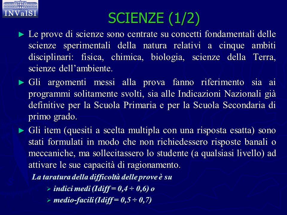 SCIENZE (1/2) ► Le prove di scienze sono centrate su concetti fondamentali delle scienze sperimentali della natura relativi a cinque ambiti disciplina