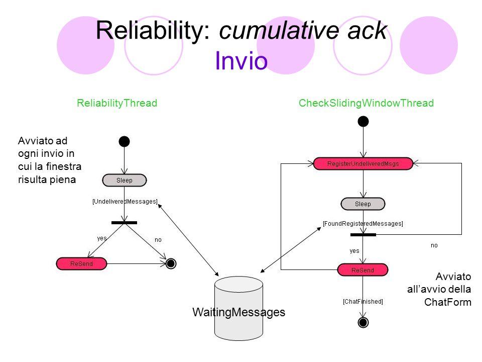 Reliability: cumulative ack Invio WaitingMessages ReliabilityThreadCheckSlidingWindowThread Avviato ad ogni invio in cui la finestra risulta piena Avviato all'avvio della ChatForm