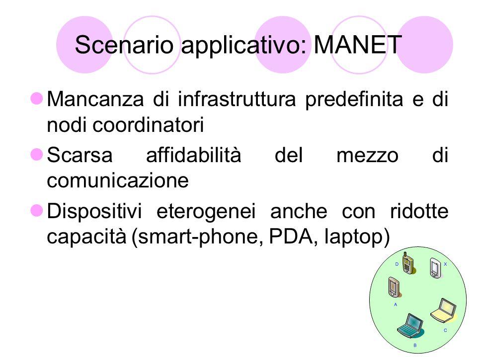 Scenario applicativo: MANET Mancanza di infrastruttura predefinita e di nodi coordinatori Scarsa affidabilità del mezzo di comunicazione Dispositivi eterogenei anche con ridotte capacità (smart-phone, PDA, laptop)